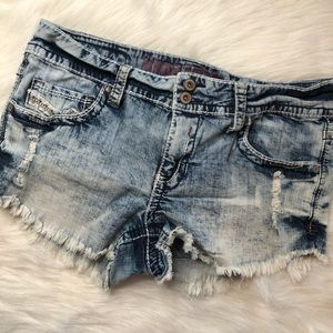 Hydraulic Distressed Acid Wash Jean Shorts
